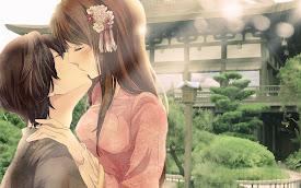 sweet kiss anime couple hd wallpaper