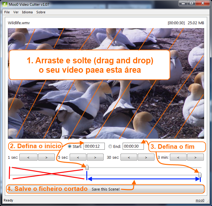 Corte de video com o Moo0 Video Cutter