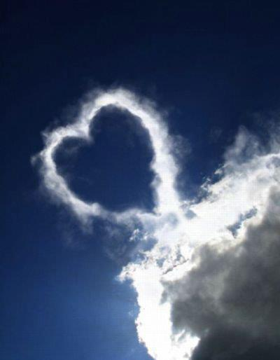 Heart created by clouds on sky