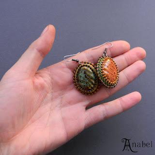 купить сережки натуральных цветов охра керамические серьги бисер