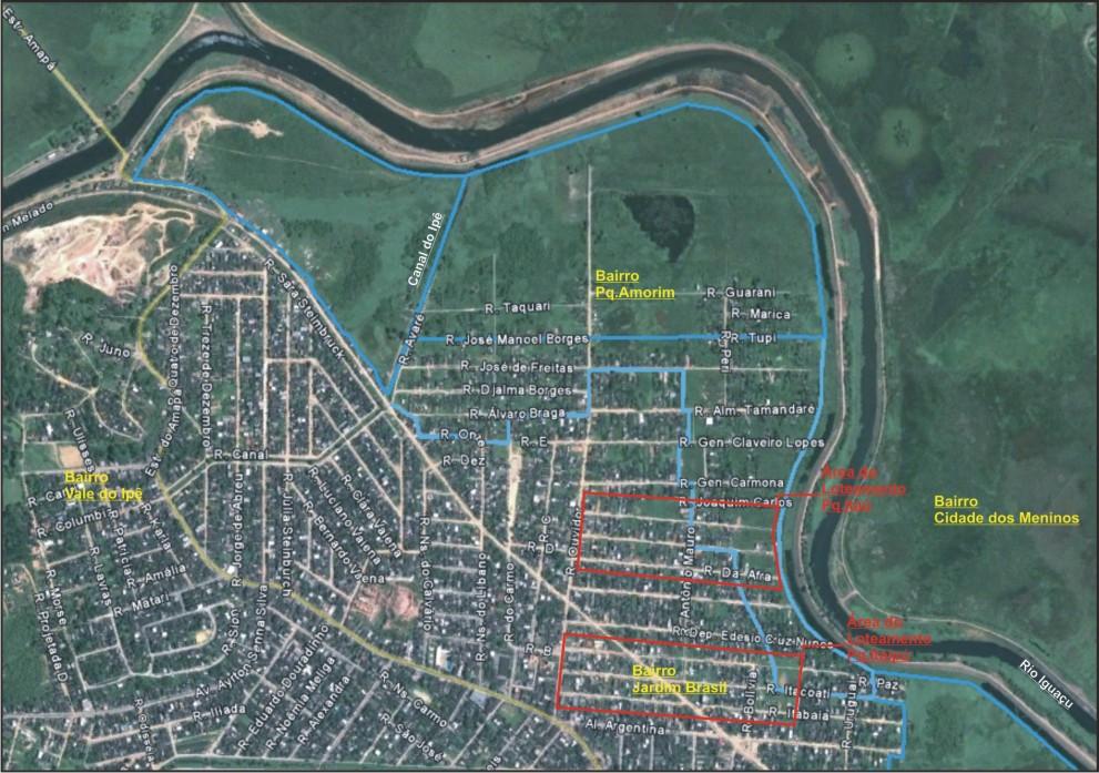 Contorno da Ciclovía a ser contruída após a retirada das casas da Região do Pq.Amorim e Jd.Brasil