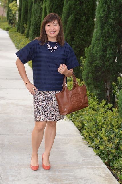 Pattern mixing, Gap Stripe top, J Crew Pencil Skirt, Fashion over 40, Fashion blogger
