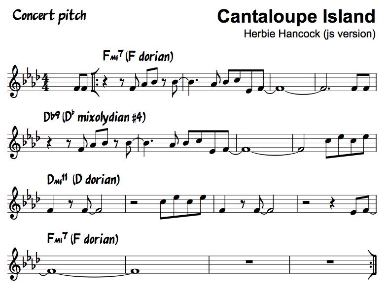 Cantaloupe Island Herbie Hancock Concert Pitch