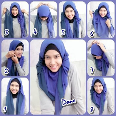 Cara Memakai Jilbab Pashmina Two Tone
