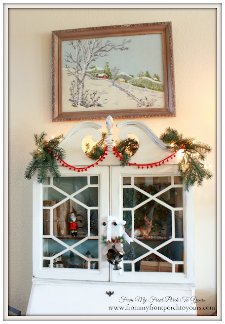 Vintage- Secretary- Christmas Inspiration-Crewel-Farmhouse-A Merry little Christmas- From My Front Porch To Yours