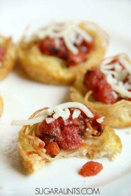 Spaghetti & Meatball Cups - Emily Bites