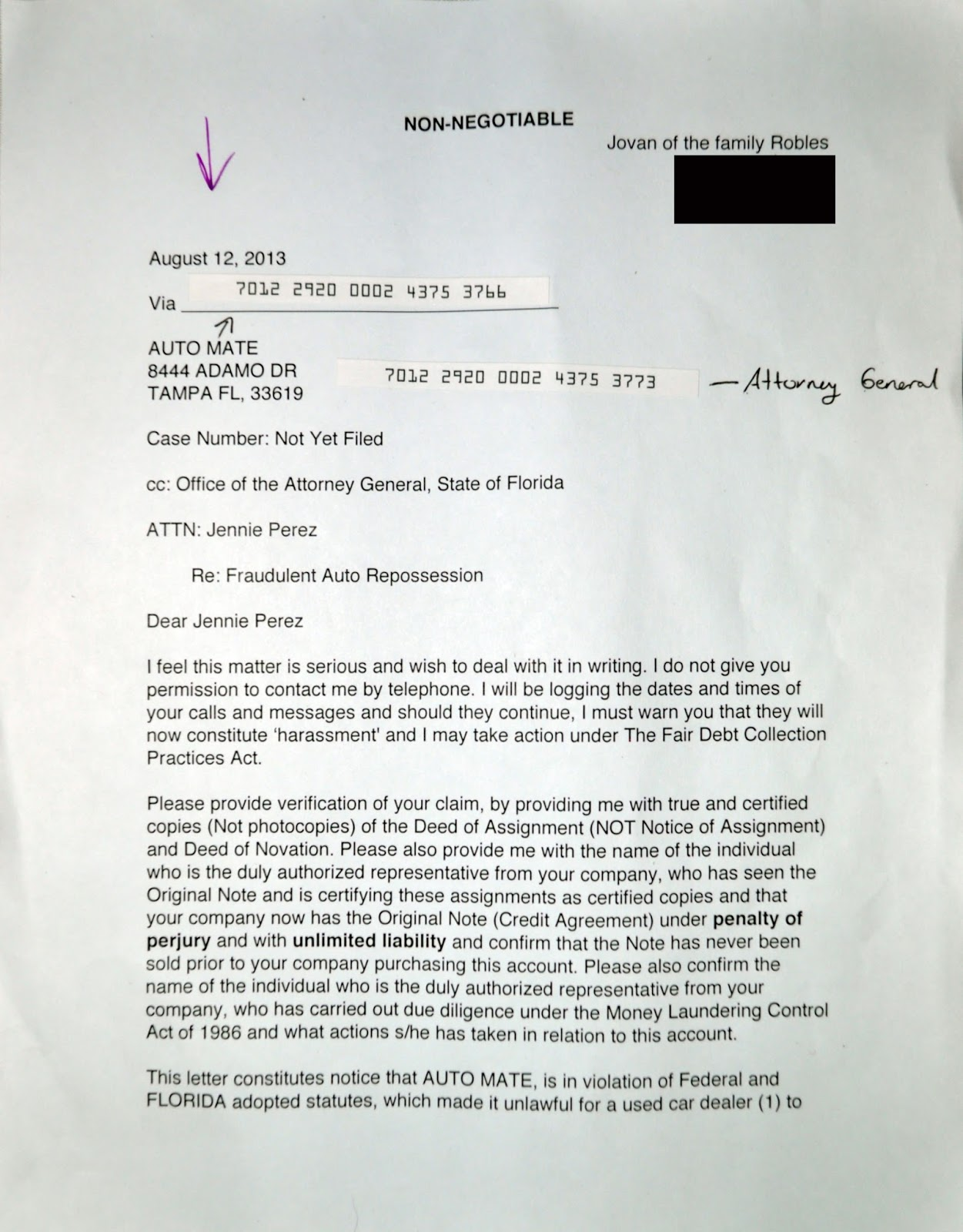 Julian S Demand Letter Response To Fraudulent Car Repossesion