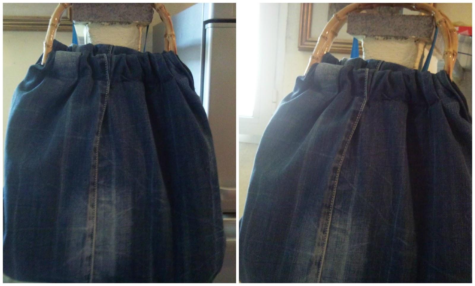 Borse Fatte A Mano Con I Jeans : Con un filo colorato borsa di jeans manici in bamboo