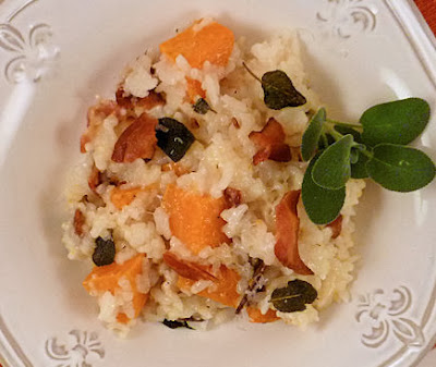Bacon, Sweet Potato and Sage Baked Risotto