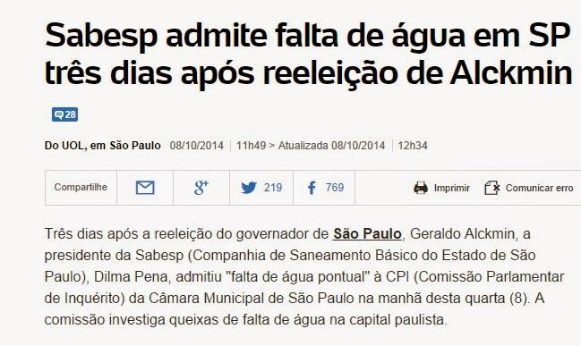 Depois do tucano receber os votos dos paulistanos e se reeleger, mandou avisar que #NãoVaiTerAgua