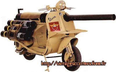 Vespa com um canhão de 75mm vai a leilão em Mônaco