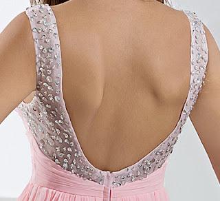 Rose A-ligne bretelles étage longueur des robes du soir en mousseline de soie