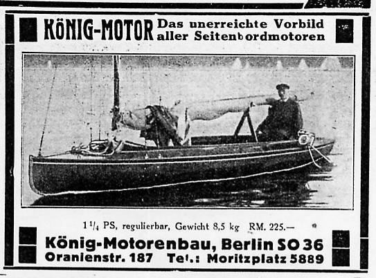 Konig 1929 Engine Advertisement