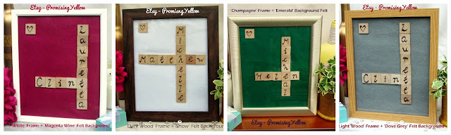 Etsy handmade. Pyrography and woodburning. Personalised with names of couples in wooden tiles similar to scrabble. Calligraphy and soft felt backgrounds in photo frames for home decor and gifts.
