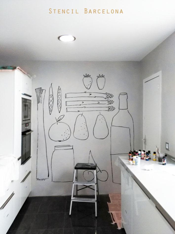 Stencil barcelona - Murales para cocinas ...