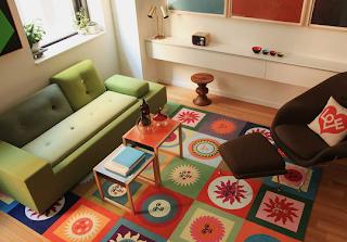 Tapete supercolorido para sala, com estilo alegre