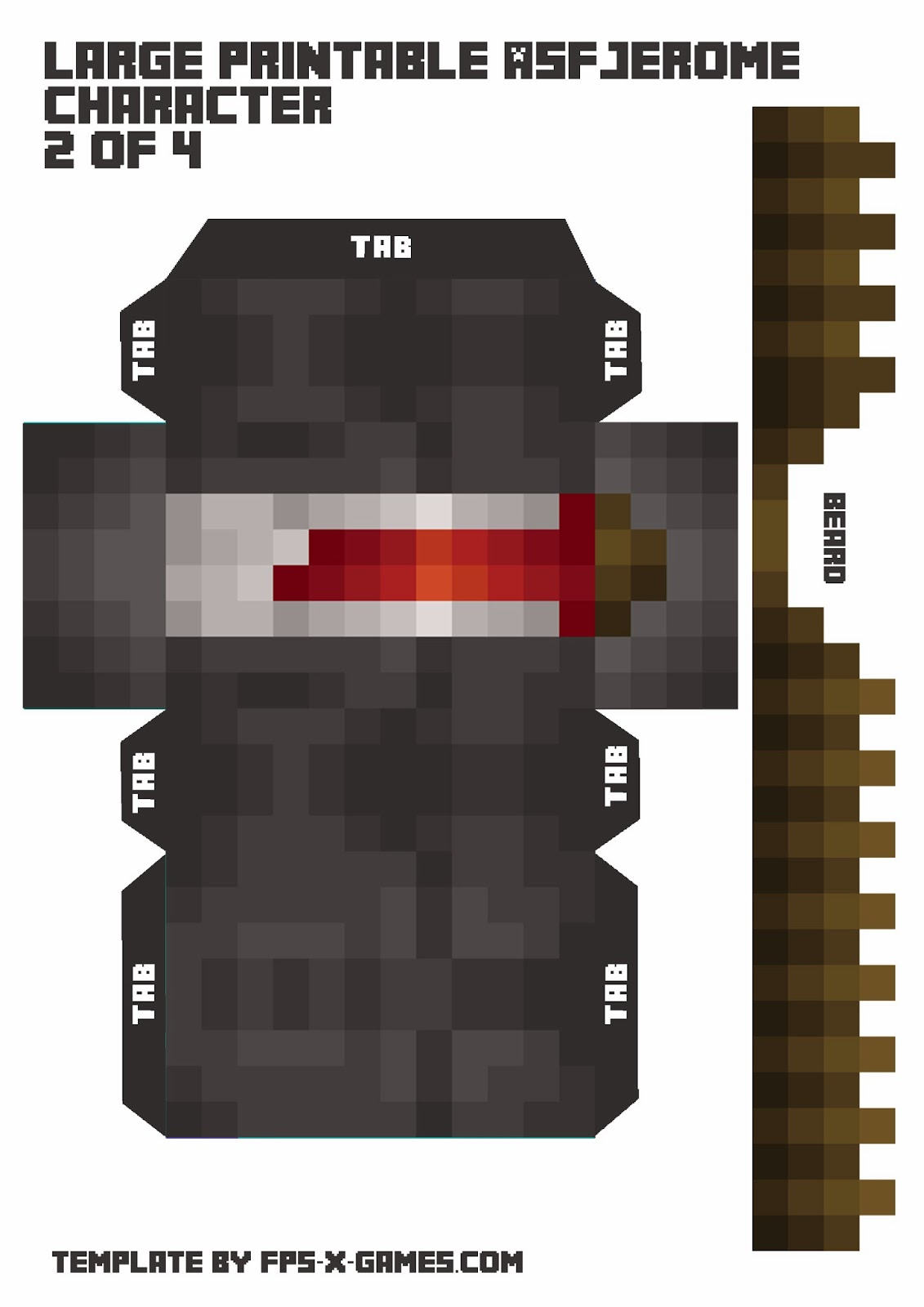 Large ASFJerome Printable Minecraft Character 2 of 4