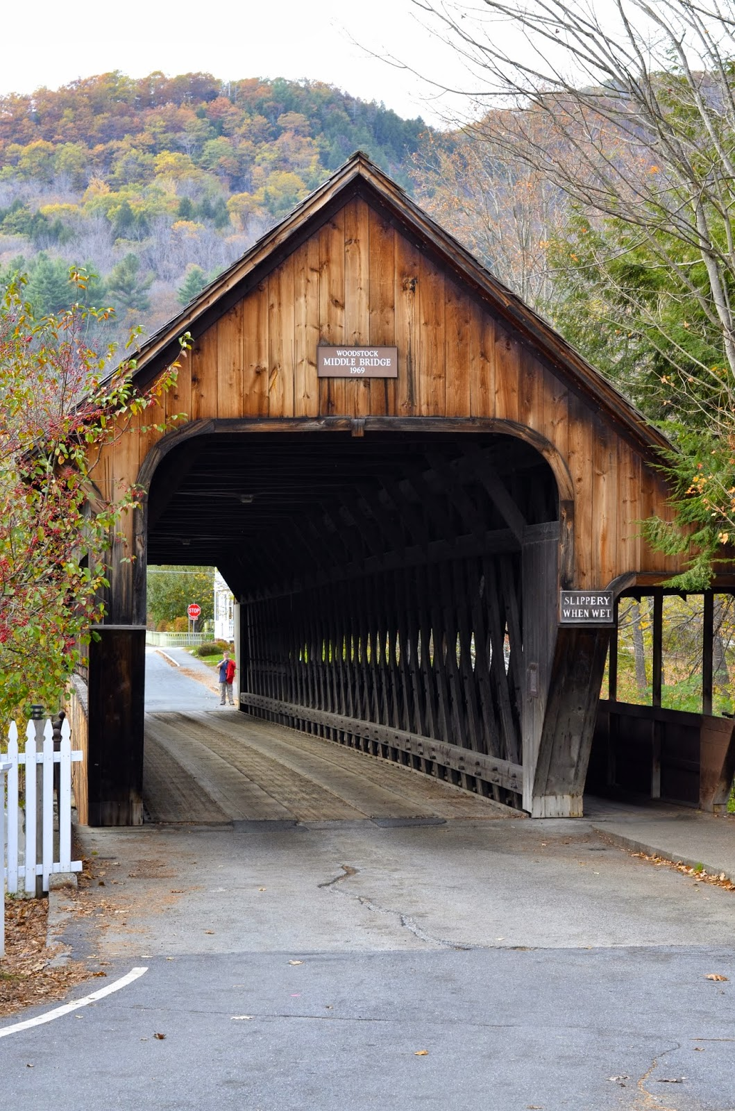 Fall, covered bridge, Woodstock, Vermont, New England