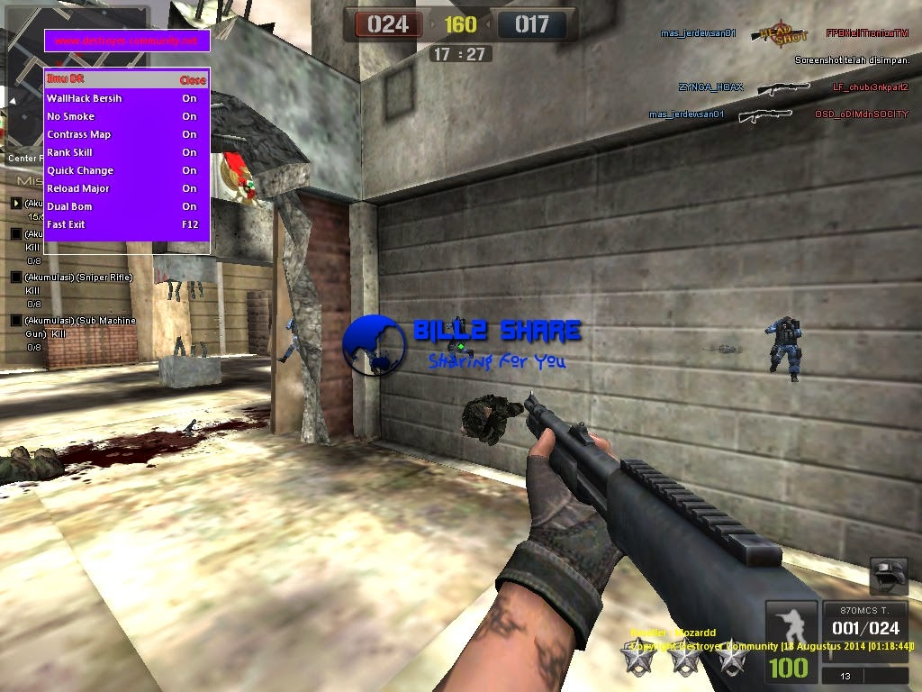 Cheat Point Blank WallHack Bersih + No Smoke + Contrass Map + Rank Skill + Quick Change + Reload Major + Dual Bom 18 Agustus 2014