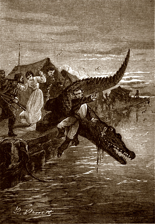 The Giant Raft or Eight Hundred Leagues on the River Amazon by Jules Verne (advertisement detail)