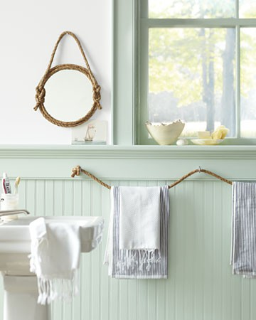 To Expand On The Nautical Rope Decor Theme Hang A Rope Line For Towels Very Clever Via Martha Stewart Nautical Bathroom