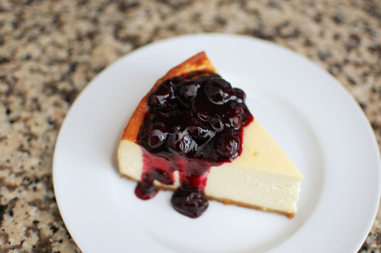 New York Style Cheesecake with Blueberry Sauce | Beantown Baker