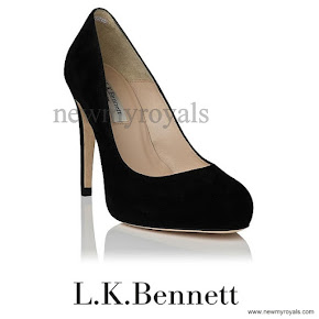 Sophie, Countess of Wessex style LK Bennett Harley in black suede pumps