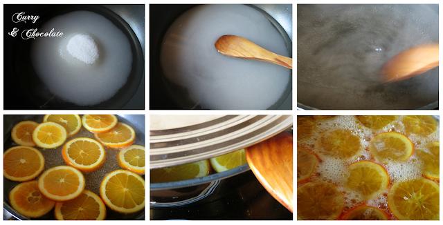 Confitando las naranjas con el azúcar