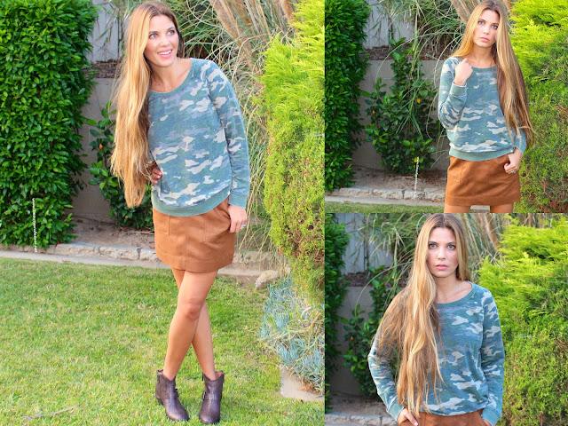hinge faux suede a line miniskirt