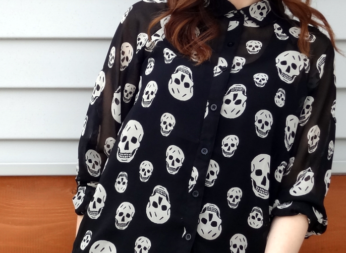 Fun &amp; flirt by Japna skull print shirt blouse