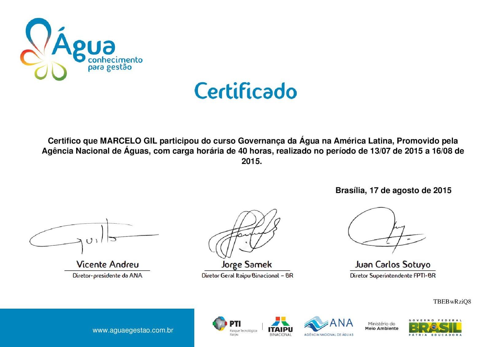 CERTIFICADO DA AGÊNCIA NACIONAL DE ÁGUAS - 2015