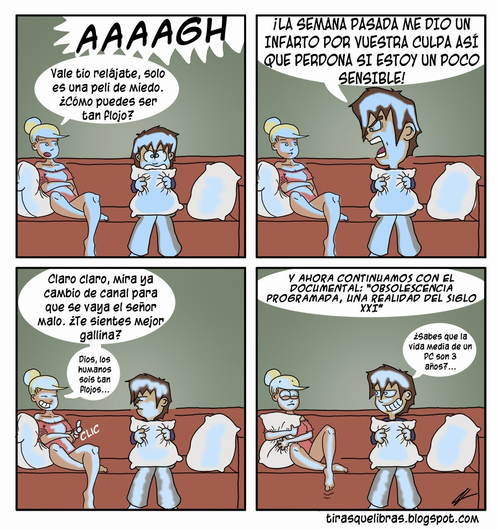 webcomic ye lo que hay, Anna se asusta con un documental de obsolescencia programada
