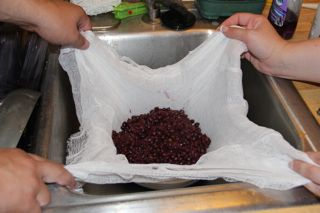 photo of  Aronia berries being strained through cheesecloth