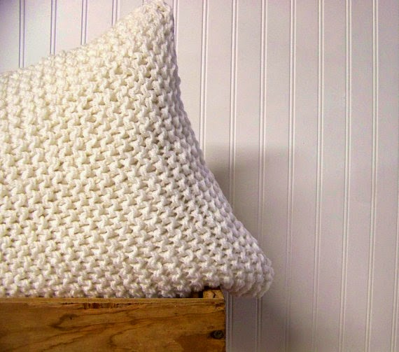 handmade cozy knit wool pillow