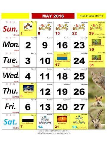 Calendar Kuda May : Jom rancang cuti dengan kalendar kuda cerita