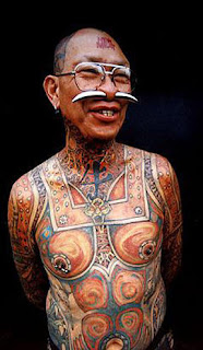 Full Body Tattoo and Face Tattooed