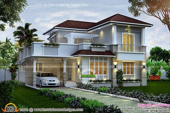 1940 sq ft 4 bedroom villa kerala home design and floor for 1940s homes exterior design