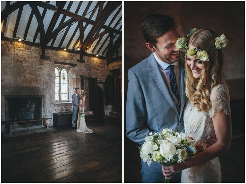 Bride with floral crown in Great Hall, St Nicholas Priory