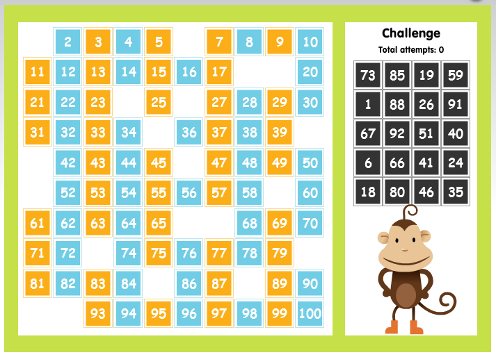 This game is 100 number chart students click and drag to place the