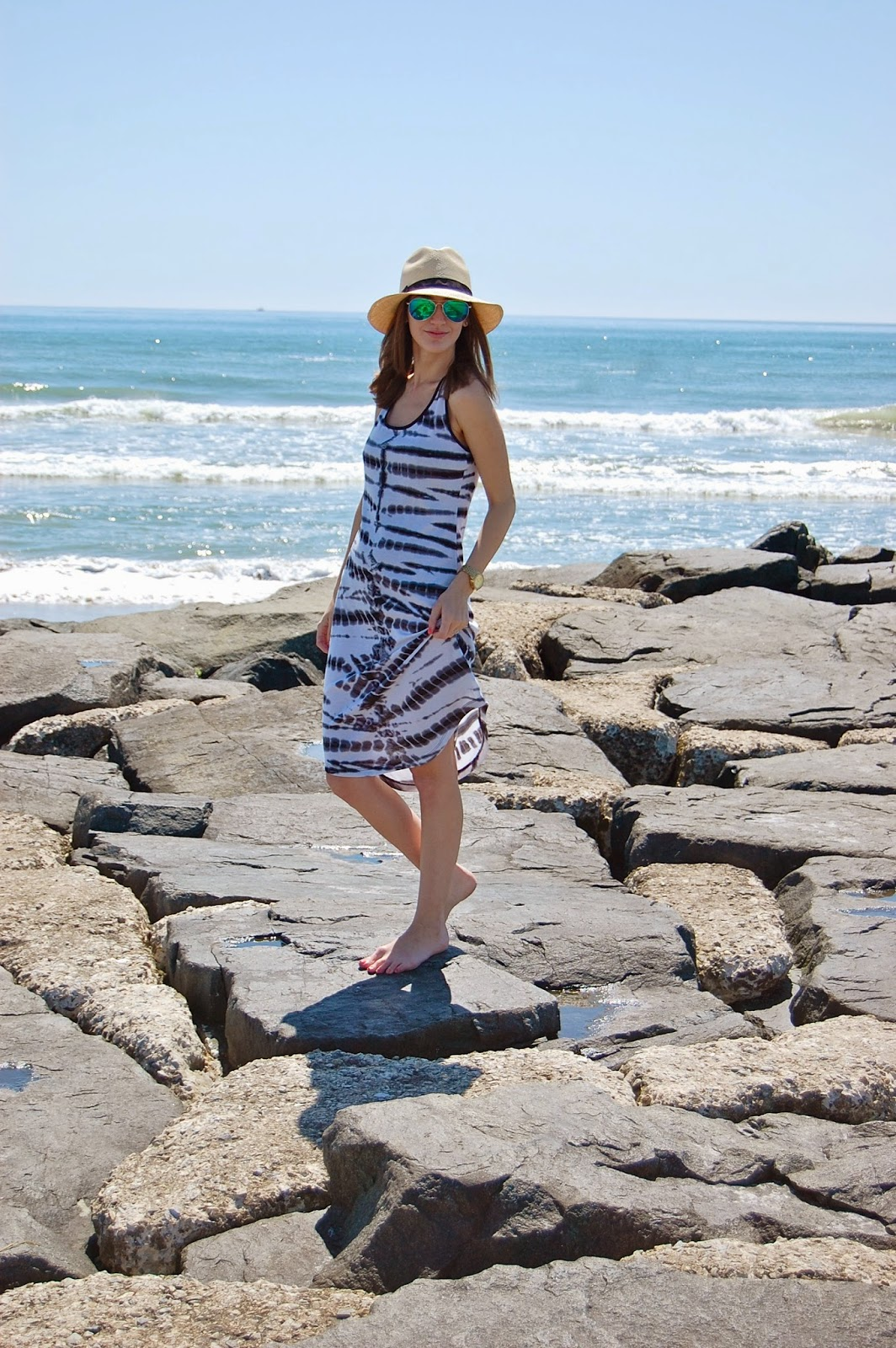 Wearing black and white Target Mossimo coverup dress, J.Crew Panama Hat, Mirrored Sunglasses, Beach Looks 2014