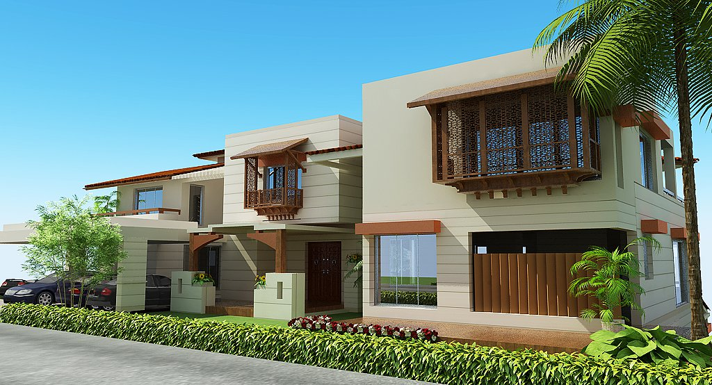 3d front lahore pakistan 3d front elevation for Home designs in pakistan