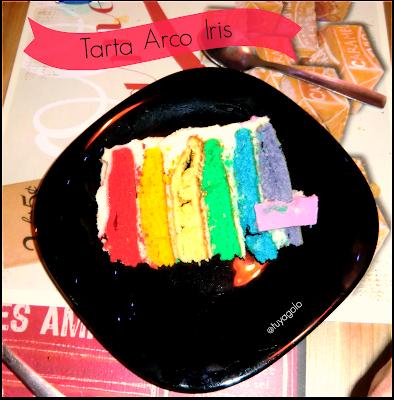tarta arco iris - rainbow cake - receta imprimible