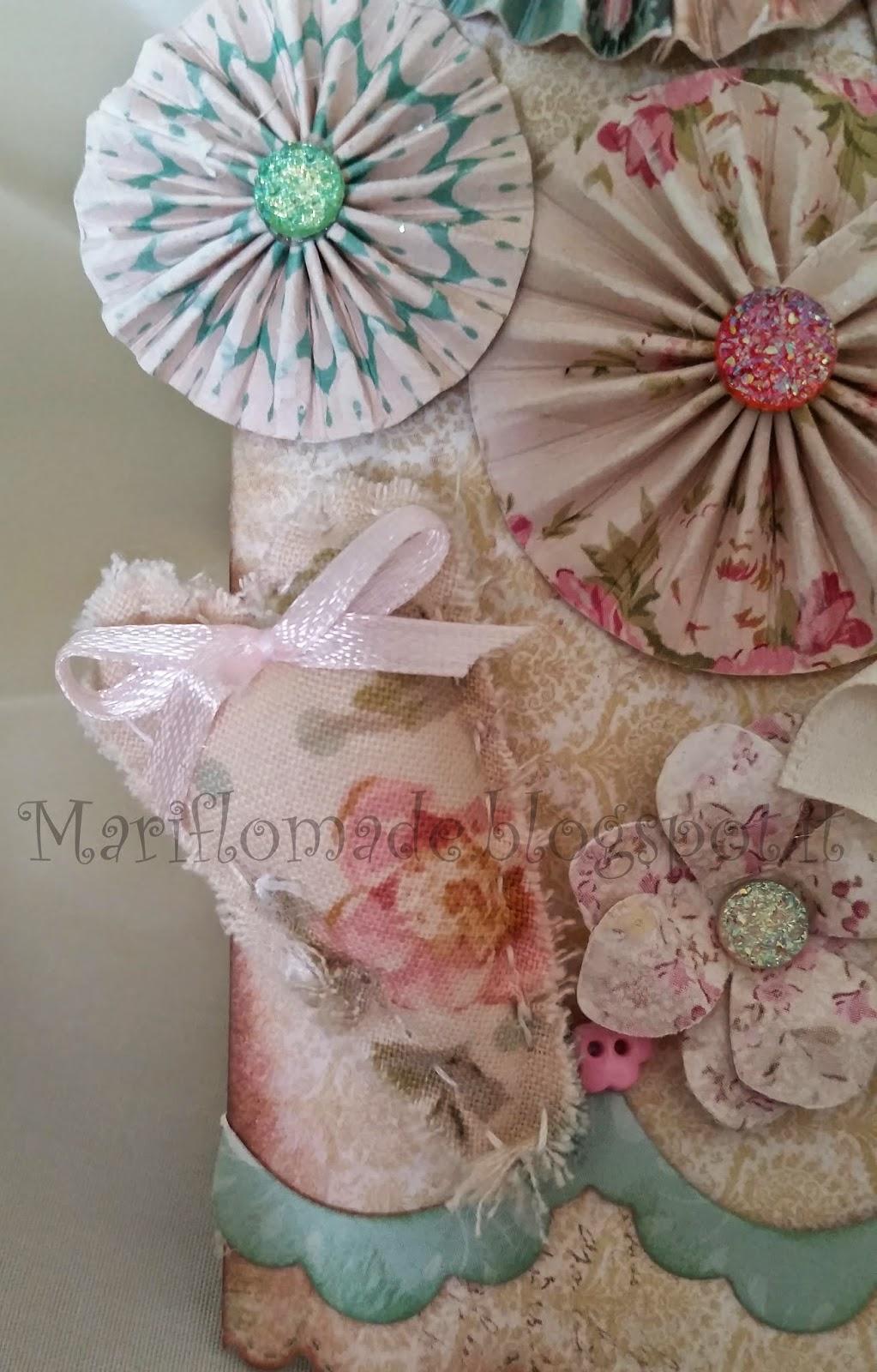 card, magnolia, tilda, sizzix, panduro, rosettes, Martha Stewart, bottoni