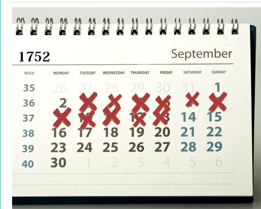 Wonderful Historical Fact :CALENDAR   SEP 1752   11 DAYS MISSING!!!   Best