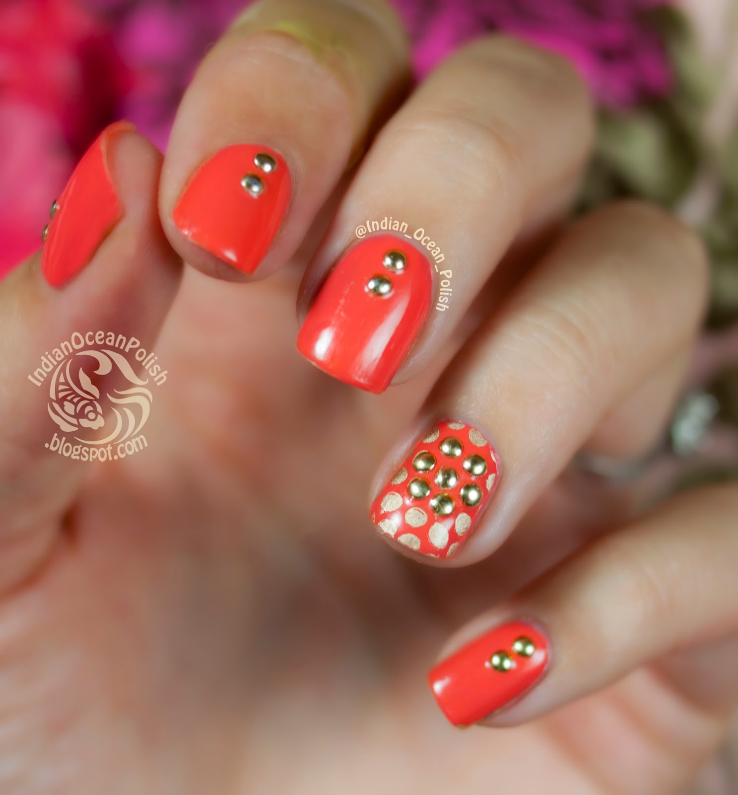 Indian Ocean Polish: Studded Flower And Dots :