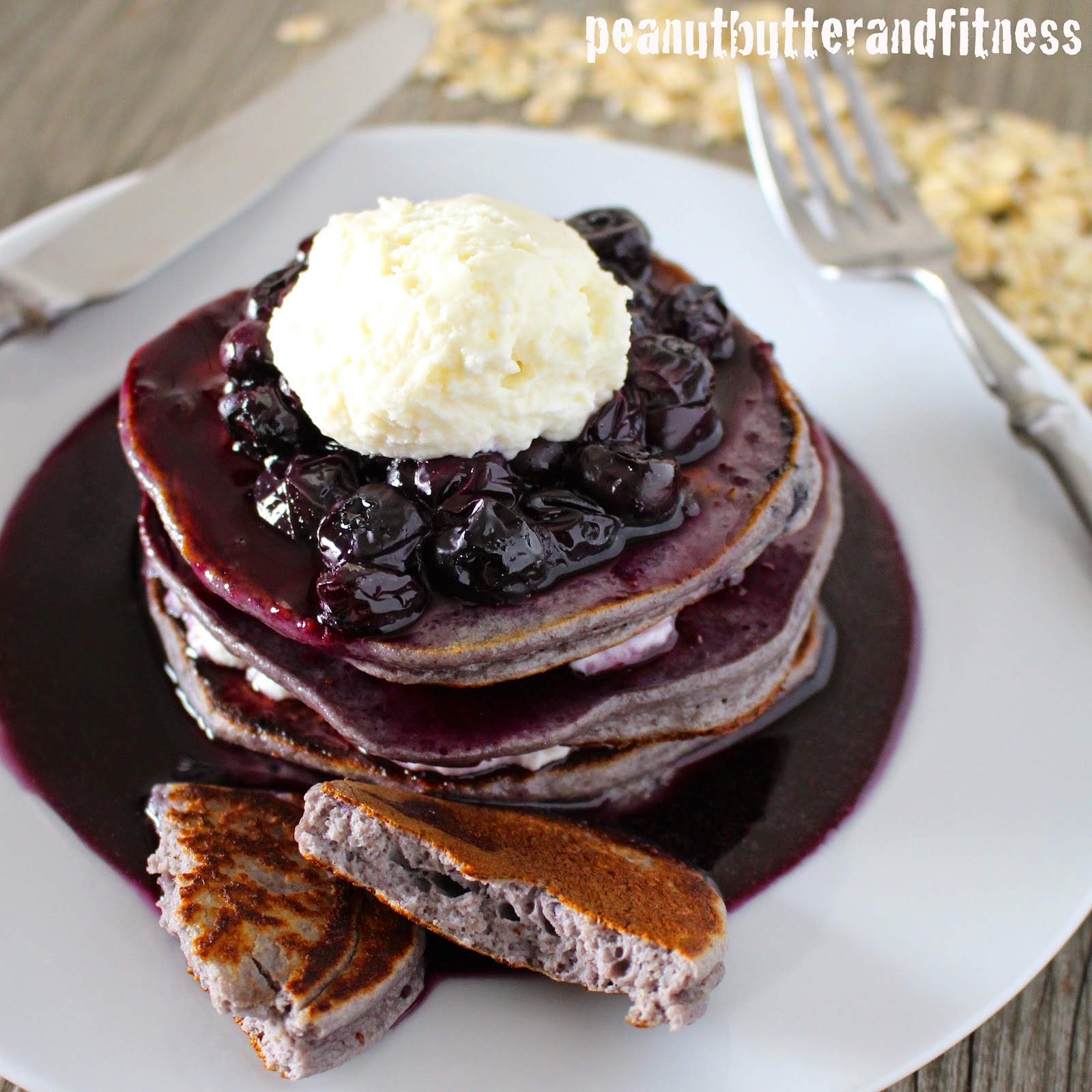 PEANUT BUTTER AND FITNESS: Double Blueberry Cinnamon Protein Pancakes