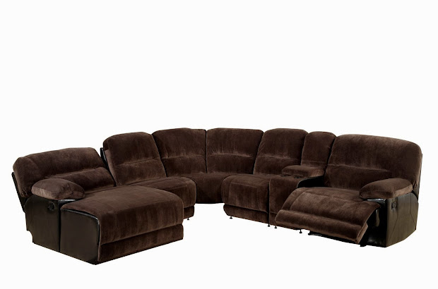 Microfiber Sectional Sofa with Recliners
