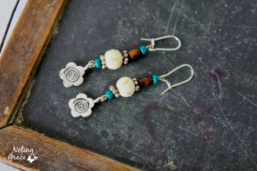 HANDMADE BOHEMIAN WOODEN AND TURQUOISE DANGLE EARRINGS FROM NOTING GRACE