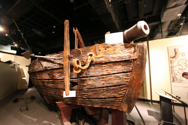 The Gunboat Philadelphia model with simple flat bottom and propelled by square sails and long oats which was able to carry swivel guns at National Museum of American History in Washington DC, USA