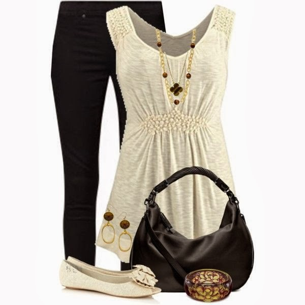 Adorable white dress, black pants, handbag and shoes for fall